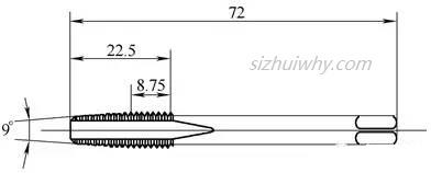 第2根丝锥的切削导向锥角修磨为9°